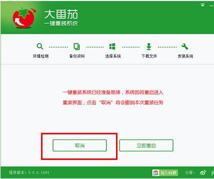 大番茄一键重装系统工具v2.5.1纯净版5